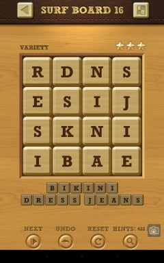Words Crush Variety Surf by Board Level 16