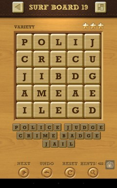 Words Crush Variety Surf by Board Level 19