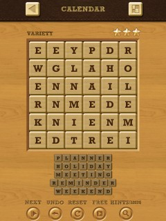 Words Crush Variety Theme 7 Level Calendar